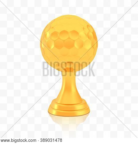 Winner Golf Cup Award, Golden Trophy Logo Isolated On White Transparent Background, Photo Realistic