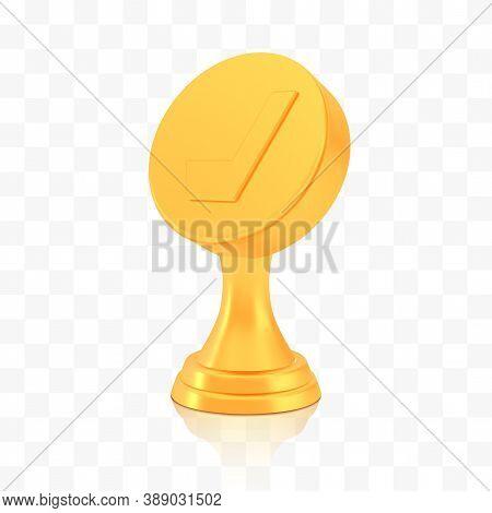 Winner Hockey Cup Award, Golden Trophy Logo Isolated On White Transparent Background, Photo Realisti