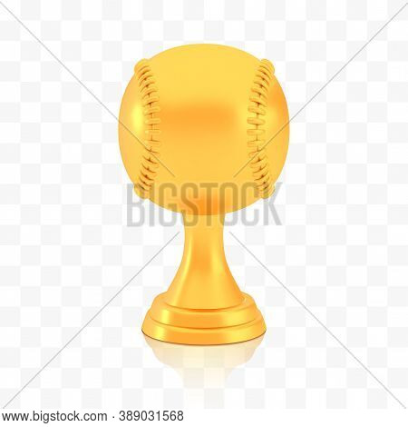 Winner Baseball Cup Award, Golden Trophy Logo Isolated On White Transparent Background, Photo Realis