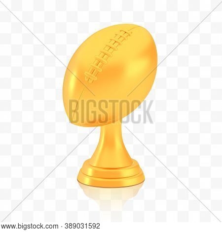 Winner American Football Cup Award, Golden Trophy Logo Isolated On White Transparent Background, Pho
