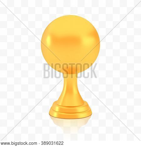 Winner Sphere Cup Award, Golden Trophy Logo Isolated On White Transparent Background, Photo Realisti
