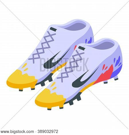 Football Footwear Icon. Isometric Of Football Footwear Vector Icon For Web Design Isolated On White