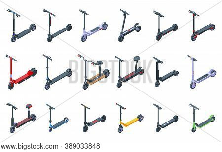 Electric Scooter Icons Set. Isometric Set Of Electric Scooter Vector Icons For Web Design Isolated O