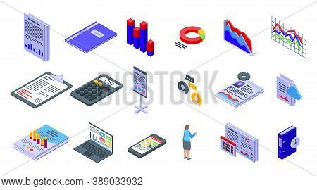 Report Icons Set. Isometric Set Of Report Vector Icons For Web Design Isolated On White Background