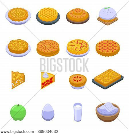 Apple Pie Icons Set. Isometric Set Of Apple Pie Vector Icons For Web Design Isolated On White Backgr
