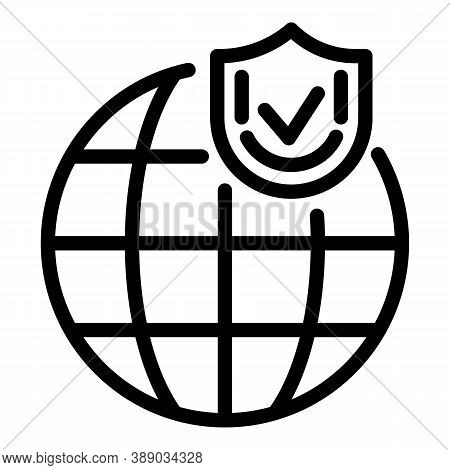 Global Reliability Icon. Outline Global Reliability Vector Icon For Web Design Isolated On White Bac