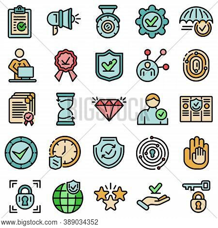 Reliability Icons Set. Outline Set Of Reliability Vector Icons Thin Line Color Flat On White