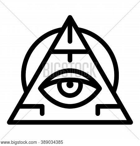 Pyramide Eye Amulet Icon. Outline Pyramide Eye Amulet Vector Icon For Web Design Isolated On White B
