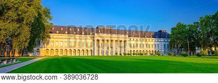Koblenz, Germany, August 23, 2019: Electoral Palace Schloss Building And Schlossvorplatz Green Grass
