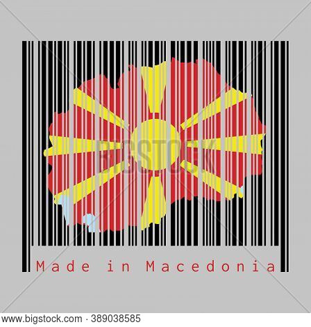 Barcode Set The Shape To Macedonia Map Outline And The Color Of Macedonia Flag On Black Barcode With