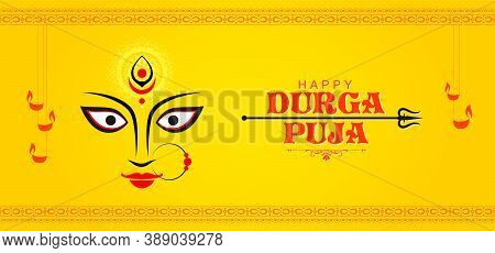 Abstract Banner Design For Celebration Of Indian Religious Festival Happy Durga Puja Or Shubh Navara