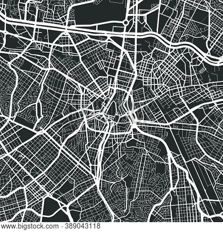 Urban City Map Of Sao Paulo. Vector Illustration, Sao Paulo Map Grayscale Art Poster. Street Map Ima