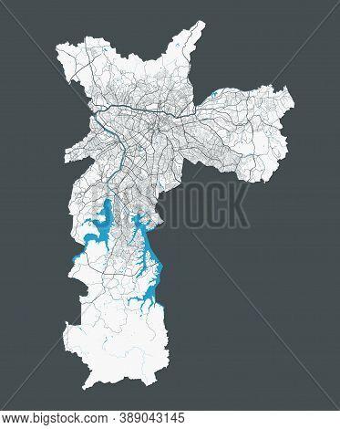 Sao Paulo Map. Detailed Map Of Sao Paulo City Administrative Area. Cityscape Panorama. Royalty Free