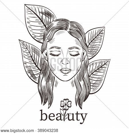 Contour Portrait Of Beautiful Girl. Young Attractive Woman Face With Closed Eyes. Cute Beauty Model.