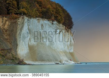 Jasmund National Park On The Island Of Ruegen. Chalk Cliffs In The Pirate Bay In The Morning. Fallin