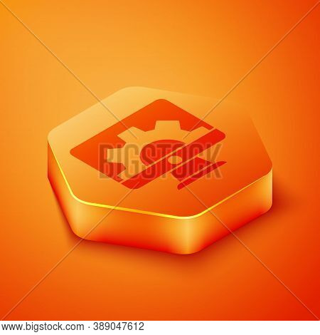 Isometric Software, Web Development, Programming Concept Icon Isolated On Orange Background. Program