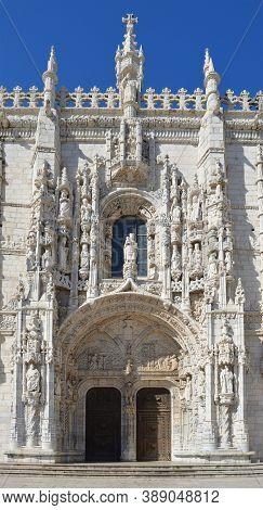Door - Entrance And Architectural Detail Of The Mosteiro Dos Jeronimos Belem Lisbon Portugal.
