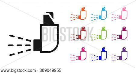 Black Inhaler Icon Isolated On White Background. Breather For Cough Relief, Inhalation, Allergic Pat
