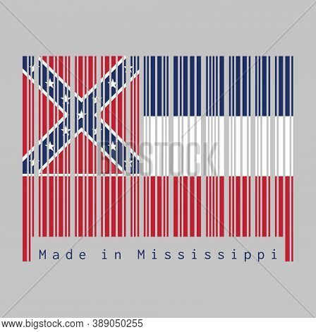 Barcode Set The Color Of Mississippi Flag, Three Horizontal Stripes Of Blue White And Red. The Canto