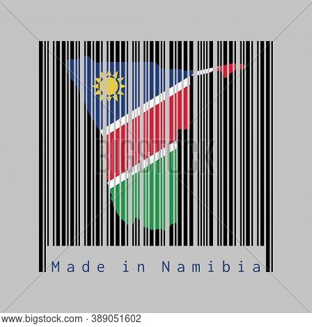 Barcode Set The Shape To Namibia Map Outline And The Color Of Namibia Flag On Black Barcode With Gre