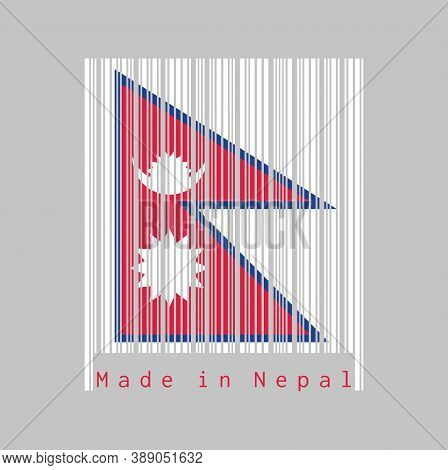 Barcode Set The Color Of Nepal Flag, Two Red Blue Triangles With Moon And Sun On White Barcode. Text