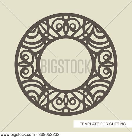 Round Decorative Photo Frame With Oriental Ornament. Сopy Space In The Center. Template For Laser Cu