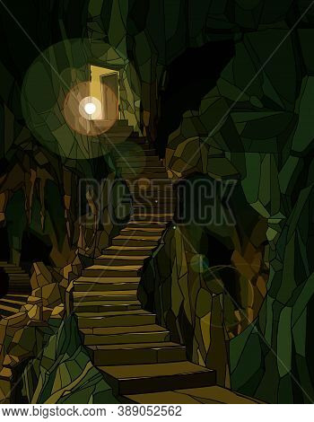 Background Of Cartoon Dungeon With Stone Stairs In Green Lighting