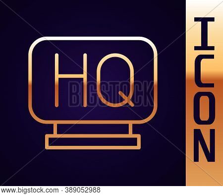 Gold Line Military Headquarters Icon Isolated On Black Background. Vector