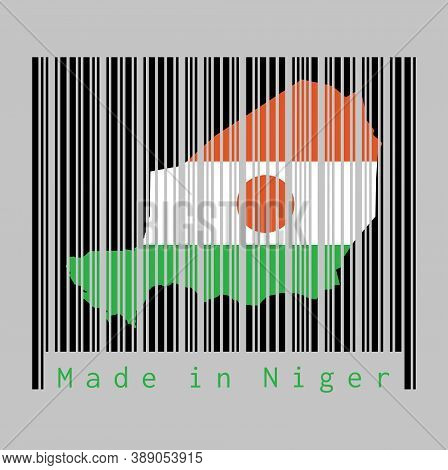 Barcode Set The Shape To Niger Map Outline And The Color Of Niger Flag On Black Barcode With Grey Ba