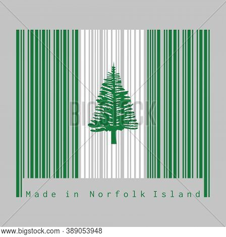Barcode Set The Color Of Norfolk Flag, Norfolk Island Pine In A Central White Stripe Between Two Gre