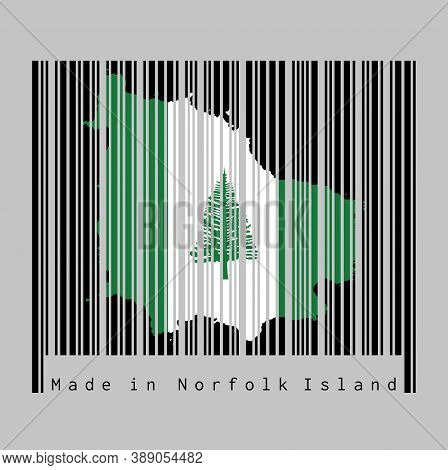 Barcode Set The Shape To Norfolk Map Outline And The Color Of Norfolk Flag On Black Barcode With Gre