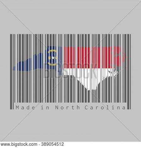 Barcode Set The Shape To North Carolina Map Outline And The Color Of North Carolina Flag On Dark Gre