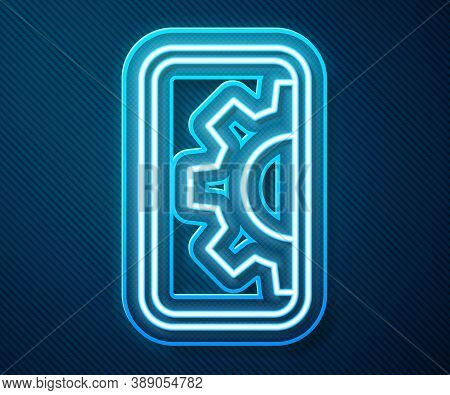 Glowing Neon Line Software, Web Development, Programming Concept Icon Isolated On Blue Background. P