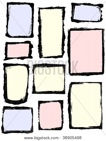 Set of grunge frames. All frames have an isolated background. Frame image or background color is easy to customize.