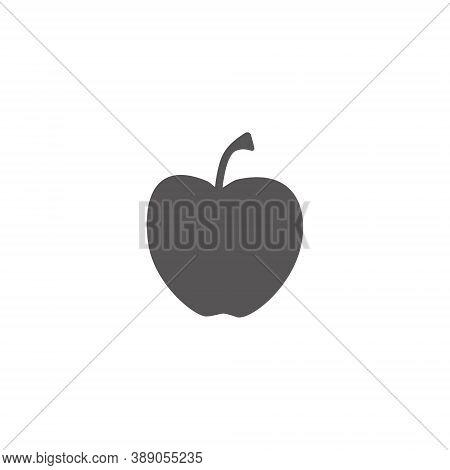 Apple Black Silhouette On White Backround .vector Illustration Eps 10