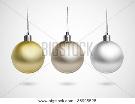 Set of three evening balls. Gold, silver, bronze symbol.