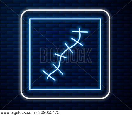 Glowing Neon Line Scar With Suture Icon Isolated On Brick Wall Background. Vector