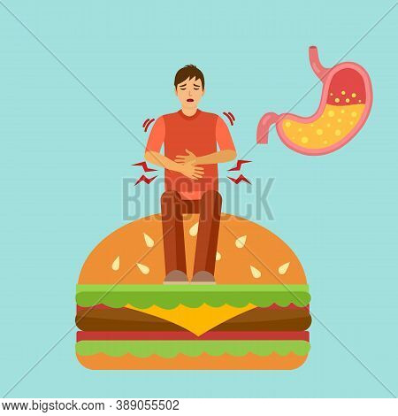 A Man Eat Food Too Much And Got Digestion Problem. He Has Acid Reflux In Stomach. Stomachache Diagno