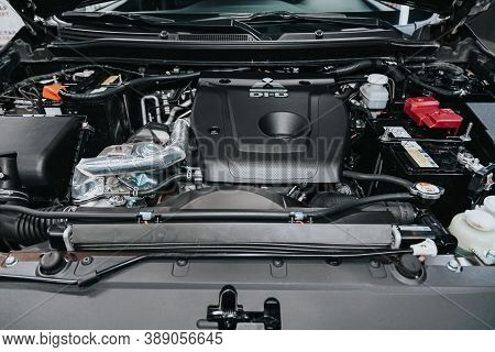 Novosibirsk, Russia - October 08, 2020: Mitsubishi Pajero Sport, Close Up Of A Clean Motor Block. In