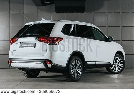 Novosibirsk, Russia - October 08, 2020: White Mitsubishi Outlander, Back View.  Photography Of A Mod