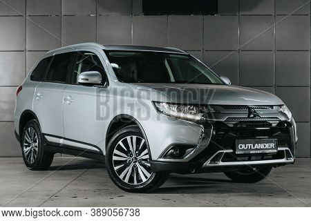 Novosibirsk, Russia - October 08, 2020: Gray Mitsubishi Outlander, Front View.  Photography Of A Mod