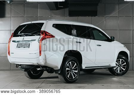 Novosibirsk, Russia - October 08, 2020: White Mitsubishi Pajero Sport, Back View.  Photography Of A