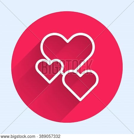White Line Heart Icon Isolated With Long Shadow. Romantic Symbol Linked, Join, Passion And Wedding.