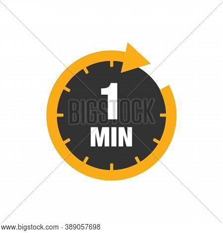 One Minute Icon Isolated On White Background. Cooking Time Concept. 1 Minute Waiting Time Icon. Vect