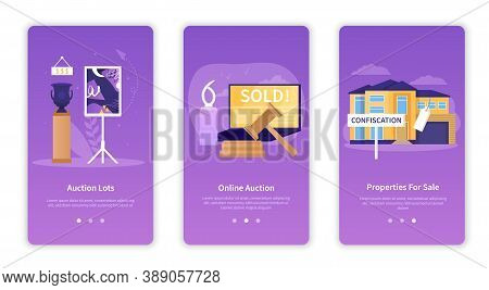Set Of Abstract Vector Illustrations Is Devoted To The Implementation Of Different Auctions And Bidd