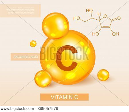 Colorful Banner Depicting Vitamin C And Its Chemical Formula. Vector Illustration
