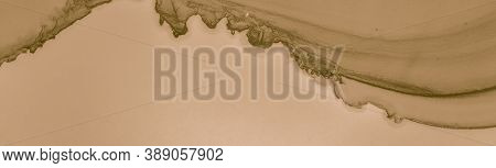 Beige Coffee Stains. Liquid Brown Pattern. Aged Old Parchment. Watercolour Chocolate Template. Beige
