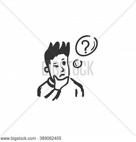 Wonder Feeling Icon. Wondered Man. Outline Sketch Drawing. Human Emotions And Feelings Concept. Conf