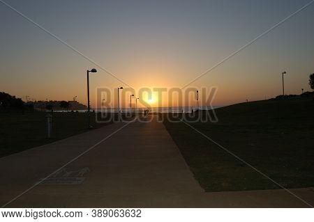 Path To The Sea, Contour, Profile, Silhouette, Outline, Sea Recreation Area, Sunset On The Sea, Even
