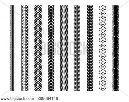 Bicycle Tire Tread Vector Brushes, Bike Tire Ground Imprints Isolated, Bicycle Or Motorcycle Wheel T